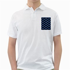 Chevron9 Black Marble & Blue Marble Golf Shirt