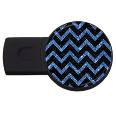 Chevron9 Black Marble & Blue Marble Usb Flash Drive Round (4 Gb) by trendistuff