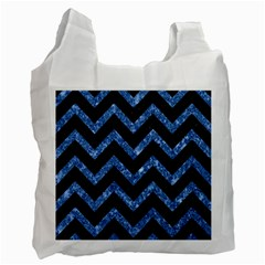 Chevron9 Black Marble & Blue Marble Recycle Bag (two Side) by trendistuff