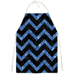 Chevron9 Black Marble & Blue Marble Full Print Apron by trendistuff