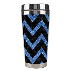 Chevron9 Black Marble & Blue Marble Stainless Steel Travel Tumbler by trendistuff