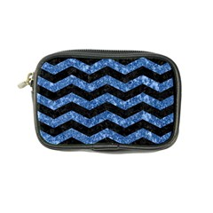 Chevron3 Black Marble & Blue Marble Coin Purse by trendistuff