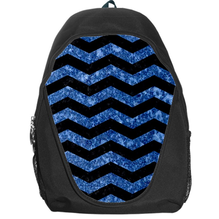 CHEVRON3 BLACK MARBLE & BLUE MARBLE Backpack Bag