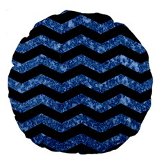 Chevron3 Black Marble & Blue Marble Large 18  Premium Round Cushion  by trendistuff
