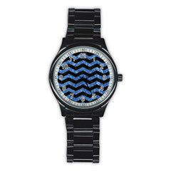 Chevron3 Black Marble & Blue Marble Stainless Steel Round Watch by trendistuff