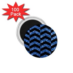 Chevron2 Black Marble & Blue Marble 1 75  Magnet (100 Pack)  by trendistuff