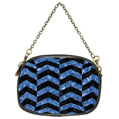 Chevron2 Black Marble & Blue Marble Chain Purse (two Sides) by trendistuff