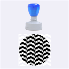 Chevron2 Black Marble & Blue Marble Rubber Stamp Round (medium) by trendistuff