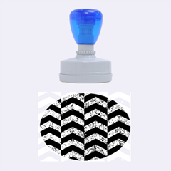 Chevron2 Black Marble & Blue Marble Rubber Stamp Oval by trendistuff