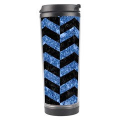 Chevron2 Black Marble & Blue Marble Travel Tumbler by trendistuff