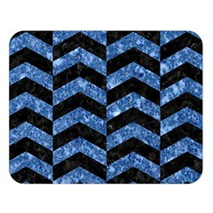 Chevron2 Black Marble & Blue Marble Double Sided Flano Blanket (large)