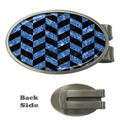 Chevron1 Black Marble & Blue Marble Money Clip (oval) by trendistuff