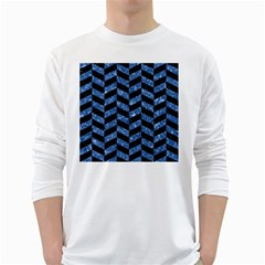 Chevron1 Black Marble & Blue Marble Long Sleeve T Shirt by trendistuff