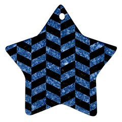 Chevron1 Black Marble & Blue Marble Star Ornament (two Sides) by trendistuff