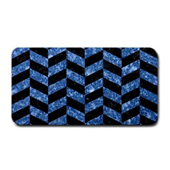Chevron1 Black Marble & Blue Marble Medium Bar Mat by trendistuff