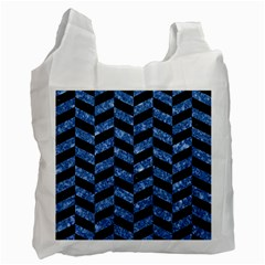 Chevron1 Black Marble & Blue Marble Recycle Bag (one Side) by trendistuff