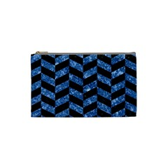 Chevron1 Black Marble & Blue Marble Cosmetic Bag (small) by trendistuff