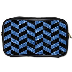 Chevron1 Black Marble & Blue Marble Toiletries Bag (one Side) by trendistuff
