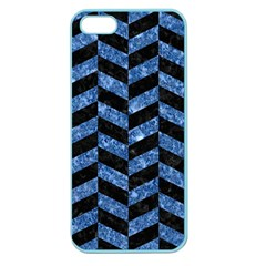 Chevron1 Black Marble & Blue Marble Apple Seamless Iphone 5 Case (color) by trendistuff