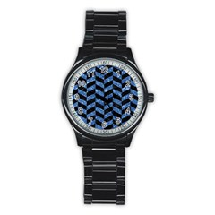 Chevron1 Black Marble & Blue Marble Stainless Steel Round Watch by trendistuff