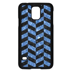 Chevron1 Black Marble & Blue Marble Samsung Galaxy S5 Case (black) by trendistuff