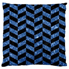 Chevron1 Black Marble & Blue Marble Standard Flano Cushion Case (one Side) by trendistuff