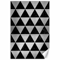 Triangle3 Black Marble & Silver Brushed Metal Canvas 24  X 36  by trendistuff