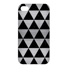 Triangle3 Black Marble & Silver Brushed Metal Apple Iphone 4/4s Premium Hardshell Case by trendistuff