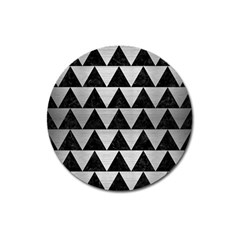Triangle2 Black Marble & Silver Brushed Metal Magnet 3  (round) by trendistuff