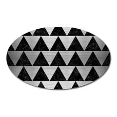 Triangle2 Black Marble & Silver Brushed Metal Magnet (oval) by trendistuff