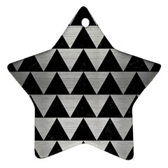 Triangle2 Black Marble & Silver Brushed Metal Star Ornament (two Sides) by trendistuff