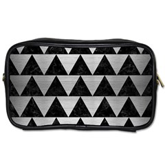 Triangle2 Black Marble & Silver Brushed Metal Toiletries Bag (two Sides) by trendistuff