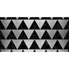 Triangle2 Black Marble & Silver Brushed Metal You Are Invited 3d Greeting Card (8x4) by trendistuff