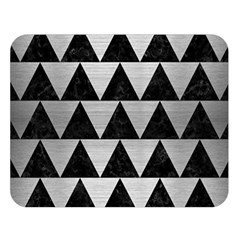 Triangle2 Black Marble & Silver Brushed Metal Double Sided Flano Blanket (large) by trendistuff