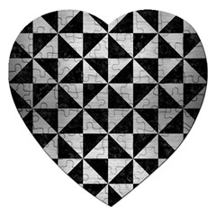 Triangle1 Black Marble & Silver Brushed Metal Jigsaw Puzzle (heart) by trendistuff