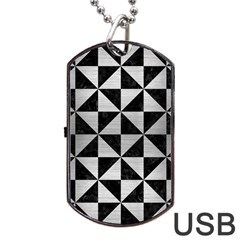 Triangle1 Black Marble & Silver Brushed Metal Dog Tag Usb Flash (two Sides) by trendistuff