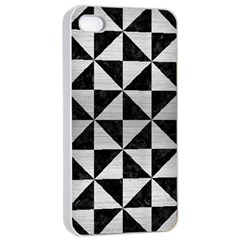 Triangle1 Black Marble & Silver Brushed Metal Apple Iphone 4/4s Seamless Case (white) by trendistuff