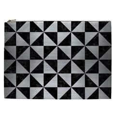 Triangle1 Black Marble & Silver Brushed Metal Cosmetic Bag (xxl) by trendistuff