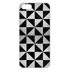 Triangle1 Black Marble & Silver Brushed Metal Apple Iphone 5 Seamless Case (white) by trendistuff