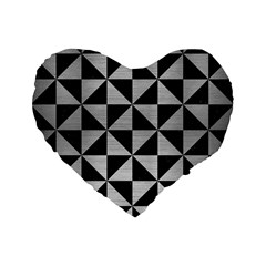 Triangle1 Black Marble & Silver Brushed Metal Standard 16  Premium Flano Heart Shape Cushion