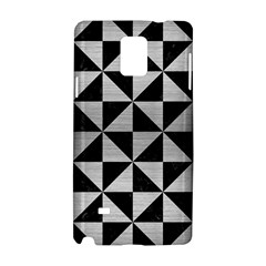Triangle1 Black Marble & Silver Brushed Metal Samsung Galaxy Note 4 Hardshell Case by trendistuff