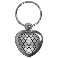Tile1 Black Marble & Silver Brushed Metal (r) Key Chain (heart) by trendistuff