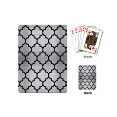 Tile1 Black Marble & Silver Brushed Metal (r) Playing Cards (mini) by trendistuff