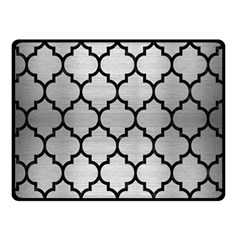 Tile1 Black Marble & Silver Brushed Metal (r) Double Sided Fleece Blanket (small) by trendistuff