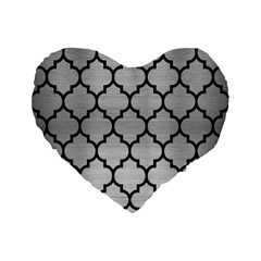 Tile1 Black Marble & Silver Brushed Metal (r) Standard 16  Premium Flano Heart Shape Cushion  by trendistuff