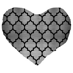 Tile1 Black Marble & Silver Brushed Metal (r) Large 19  Premium Flano Heart Shape Cushion by trendistuff