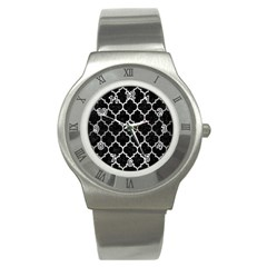 Tile1 Black Marble & Silver Brushed Metal Stainless Steel Watch by trendistuff