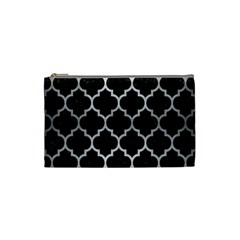 Tile1 Black Marble & Silver Brushed Metal Cosmetic Bag (small) by trendistuff