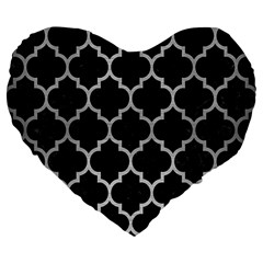 Tile1 Black Marble & Silver Brushed Metal Large 19  Premium Flano Heart Shape Cushion by trendistuff