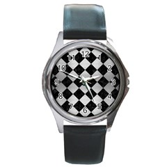 Square2 Black Marble & Silver Brushed Metal Round Metal Watch by trendistuff